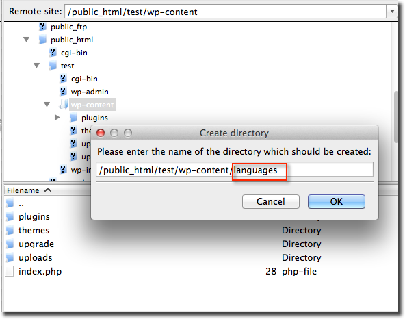 Create directory languages WordPress 4.0