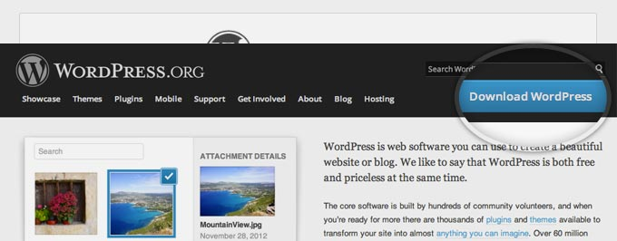 Lade das WordPress-Installationspacket in deiner Sprache herunter