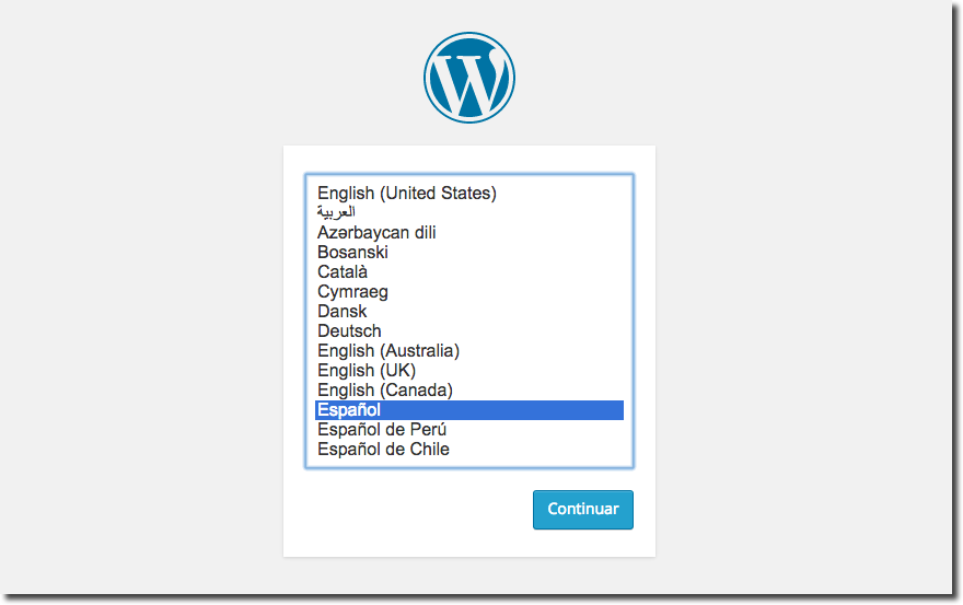 nstall WordPress 4 in your language