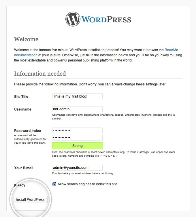 Installation Process WordPress