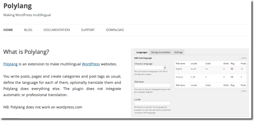 Polylang WordPress Traduction Extension