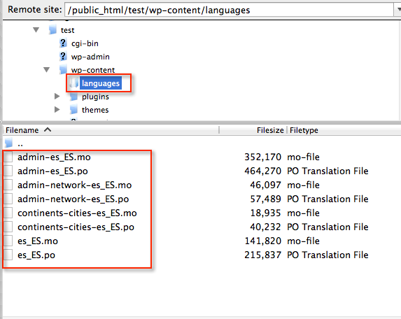 Upload po mo files languages directory