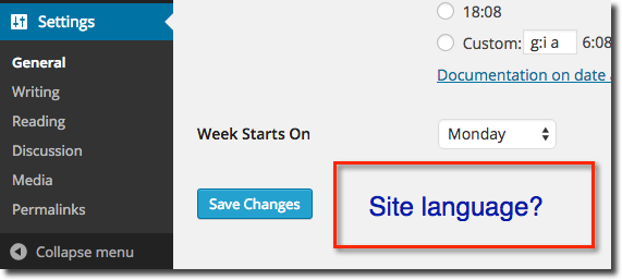WordPress 4.0 No Site Language Option