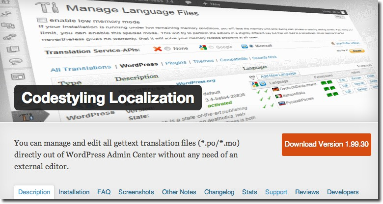 Codestyling Localization-Plugin