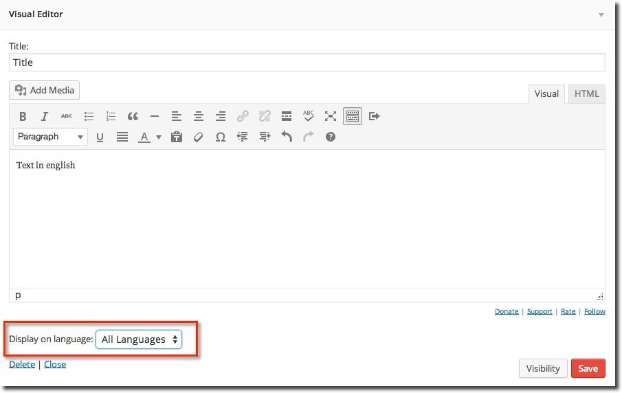 WPML Widgets Beispiel Visual editor