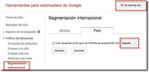 Segmentación geográfica Herramientas Webmasters Google
