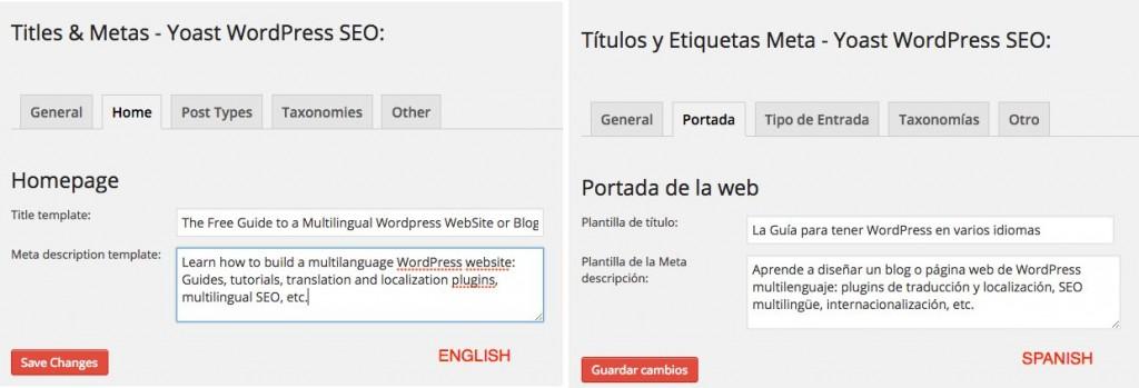 WordPress SEO Multisitio - Título - Meta descripción
