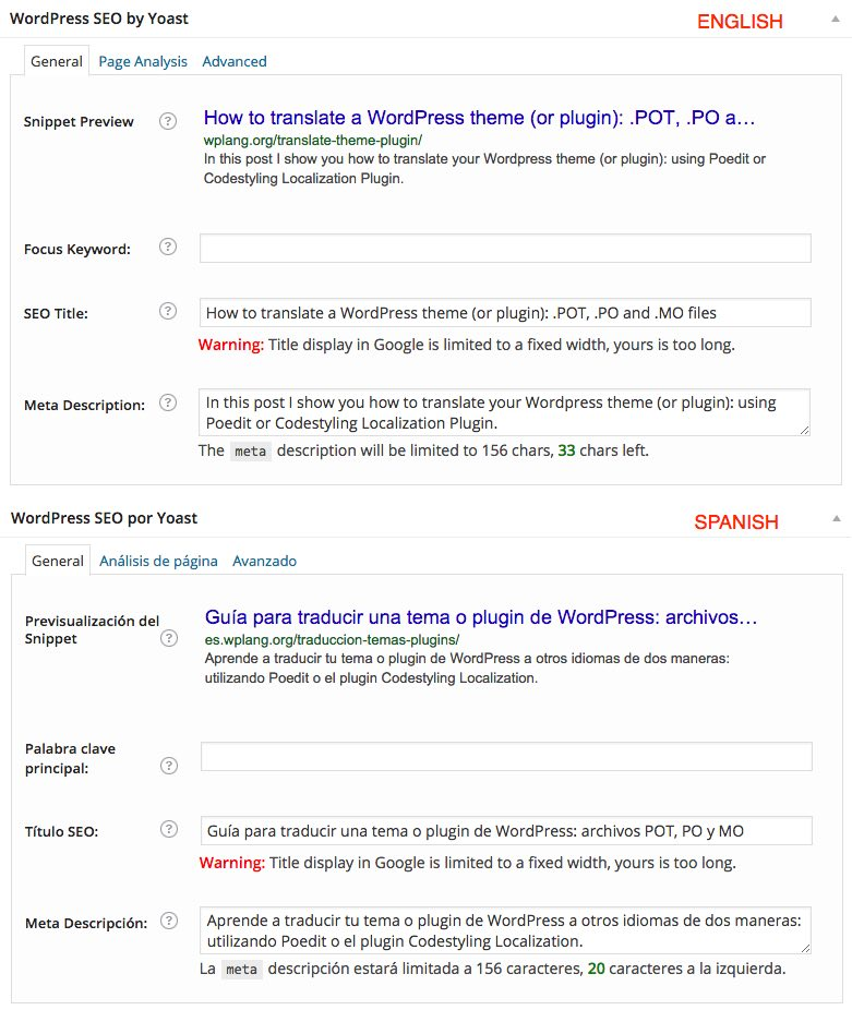 WordPress SEO Multisite Traducir Título - Meta descripción