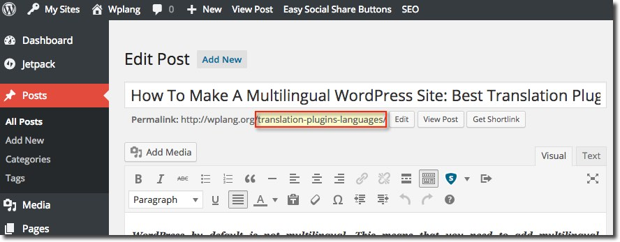 WordPress traducción de slugs