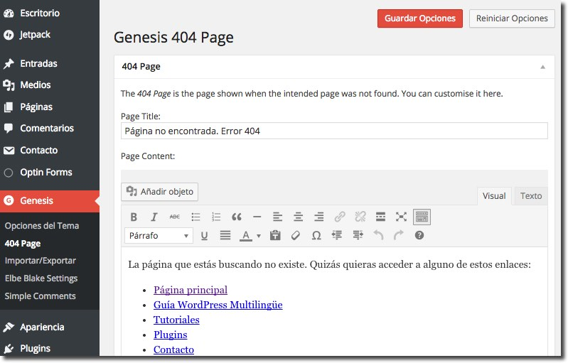 Ejemplo Genesis 404 Page Not Found Plugin