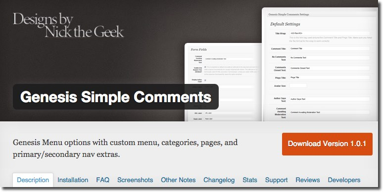 Genesis Simple Comments Plugin