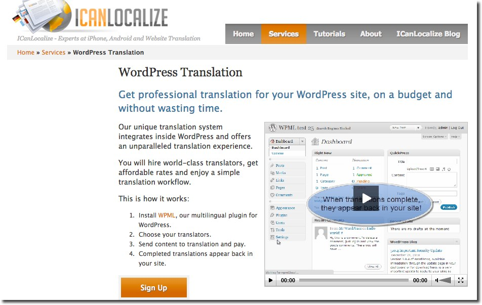 ICanLocalize WordPress Translation Services