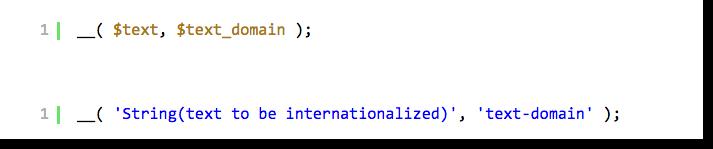 Text strings Internationalization WordPress