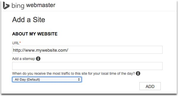 Add website Bing Webmasters Tools