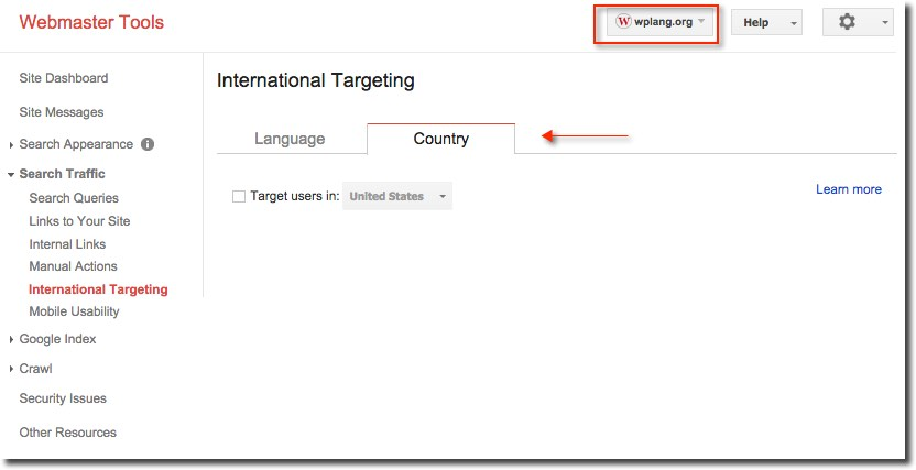 Country target users Google Webmasters Tools