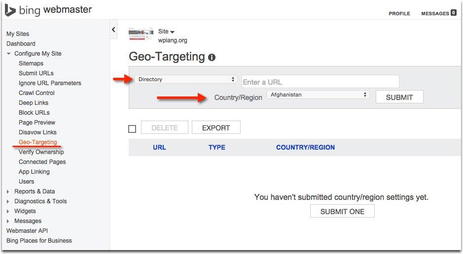 Geotargeting Bing Webmasters Tools