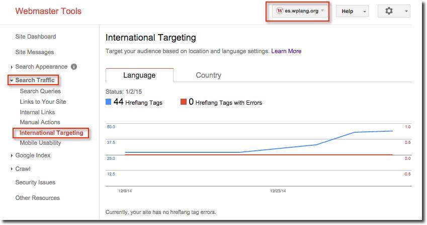 Sección de Segmentación internacional - Atributos Hreflang