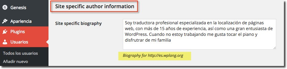 Biografía específica WordPress Multisite