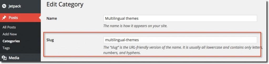 Slug Categories WordPress