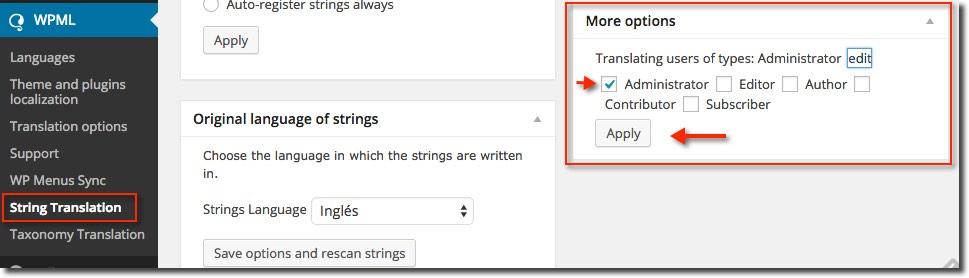 Traducción tipos de usuarios - WPML