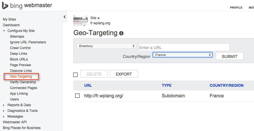Bing Webmasters Tools Geo-Targeting