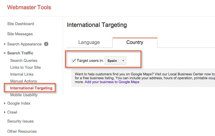 International Targeting Google Webmasters Tools