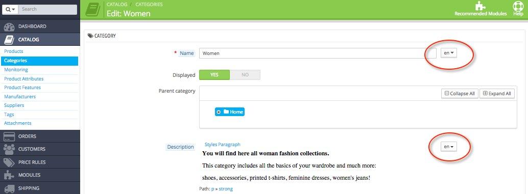PrestaShop Traducción categorías catálogo