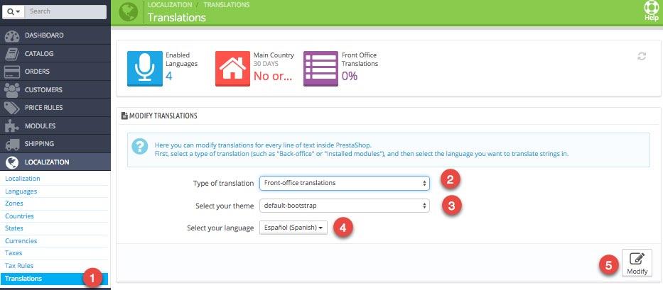 PrestaShop modificar traducciones