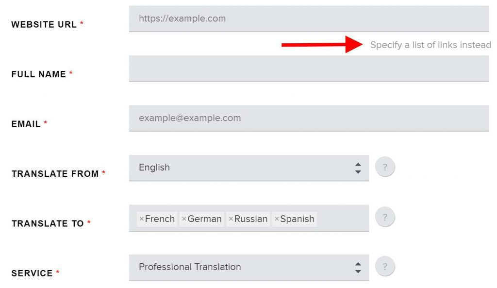 Website translation cost calculator